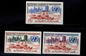 Mauritania Scott 167-169 MNH** UN Admission Imperforate stamp set
