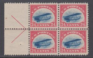 US Sc C3 MNH. 1918 24c Jenny, choice left ARROW BLOCK of 4, fresh
