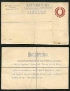 RP28 KGV 3d Red Brown Reg Envelope DM Under Flap Type 6 Size G Mint