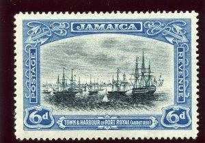 Jamaica 1922 KGV 6d black & blue MLH. SG 101. Sc 95.