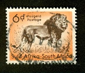 South Africa SG158 Used - 1954 6d. - Lions