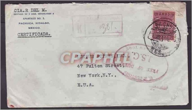 Mexico City 1938 registred silver ore sample customs label one transfers very u