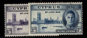 CYPRUS GVI SG164-165, VICTORY SET, M MINT.