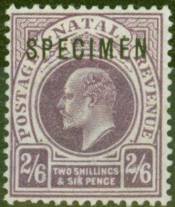 Natal 1902 2s6d Purple Specimen SG138s Fine Lightly Mtd Mint
