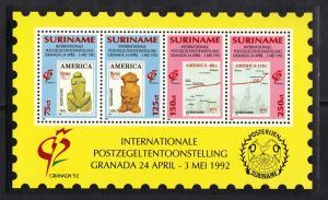 Surinam 1992 MNH Granada stamp exhibition sheet