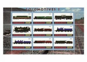 Rwanda - Locomotives - 9 Stamp  Sheet  - SV0763