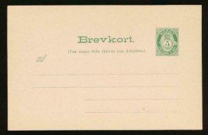 NORWAY Mi. P49 POSTAL STATIONERY POSTAL CARD 5o GREEN