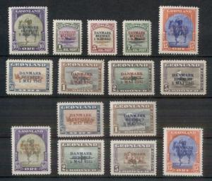 GREENLAND #19-27, 22a-27a, Complete Ovpt sets, both colors, og, NH Gronlund cert