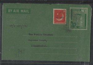 PAKISTAN  COVER (PP1404B) 1961  6A  AEROGRAM +13 RVALUED SENT TO SINGAPORE