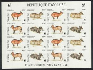 Togo WWF West African Duikers Imperforated Sheetlet of 4 sets MI#2456-2459