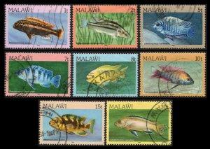 MALAWI 1984 #427-433 435 FISH DEFINITIVE POSTALLY USED SET 8 SCV $4.90 NICE LOT