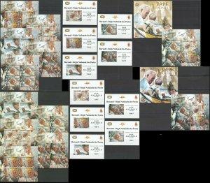 BU87 IMPERF,PERF 2012 BURUNDI GREAT HUMANISTS POPE JOHN PAUL II !! 12BL+12KB MNH