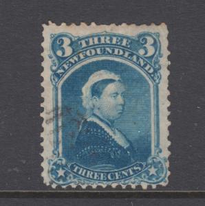 Newfoundland Sc 34 used. 1873 3c blue Queen Victoria, light cancel, sound