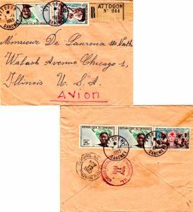 Dahomey 5F Red Cross, 25F Dahomey Girl (3), and 85F Ganvie Woman in Canoe 196...