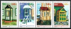 St Pierre & Miquelon 710, strip/4, MNH.Vestibules.Guillou,Jugan,Voge Houses,2001