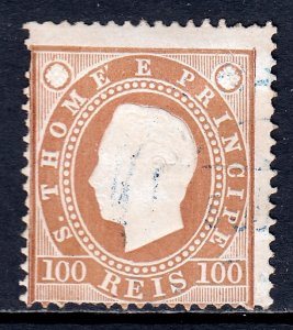 St. Thomas and Prince Islands - Scott #21 - Used - Pulled perf UL - SCV $2.00