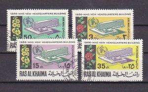 Ras Al Khaima, Mi cat. 148-151 A. W.H.O. Headquarters issue. Canceled. ^