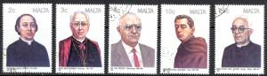 Malta Sc# 710-714 SG# 816/7, 819/23 Used 1988 Famous Men