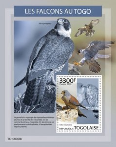 TOGO - 2019 - Falcons in Togo - Perf Souv Sheet - MNH