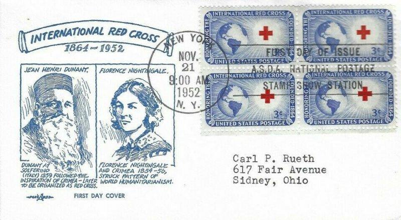 1016 3c INTERNATIONAL RED CROSS - Pent Arts cachet