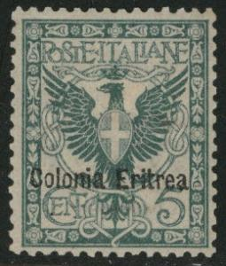 Italian Eritrea  Scott 21 MH* hinge remnant CV$42.50