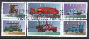 Canada Sc 1604a-f 1996 Old Vehicles stamp set used