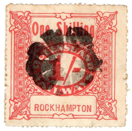 (I.B-CK) Australia - Queensland Railways : Parcel Stamp 1/- (Rockhampton)