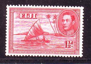 Fiji Sc 132b 1942 1 1/2d canoe with man stamp mint pf 14