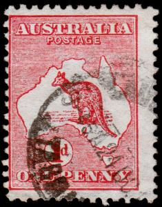 Australia Scott 2n Inverted Watermark, Die I, Carmine (1913) Used F-VF, CV $19 M