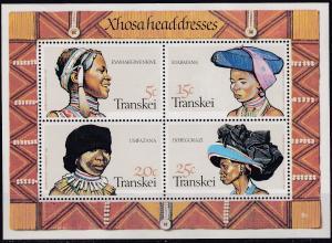 Transkei 1981 Xhosa Women's Headdresses UHM mini sheet (TRA1)