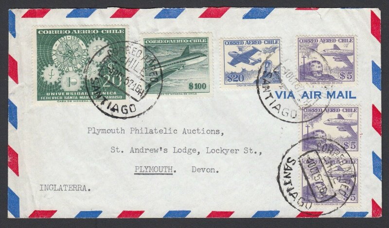 Chile 1957 Airmail Cover Santiago to Plymouth UK 155p Multi Franking