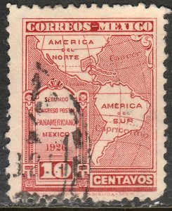 MEXICO 661, 10cents POSTAL CONGRESS. AMERICA MAP. USED. VF. (435)