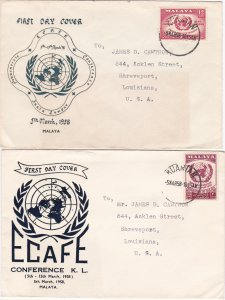 Malaya # 85-86, ECAFE Conference, First Day Covers