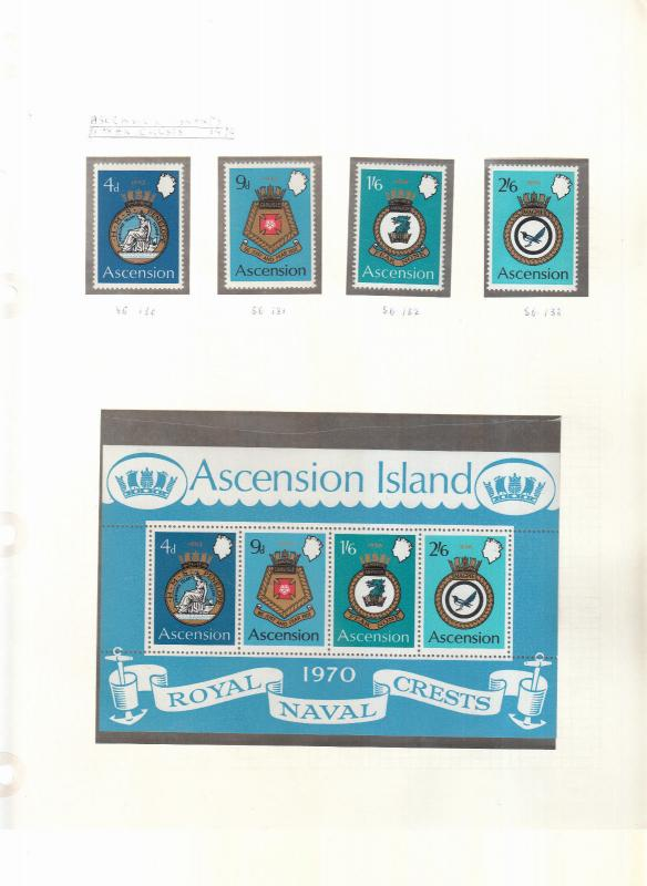 ASCENSION ISLANDS NAVAL CREST STAMPS AND MINI SHEET 2ND SERIES 1970