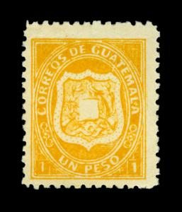GUATEMALA 1873 Coat of Arms 1p yellow Scott# 6 mint VF stamp - signed Bloch - R
