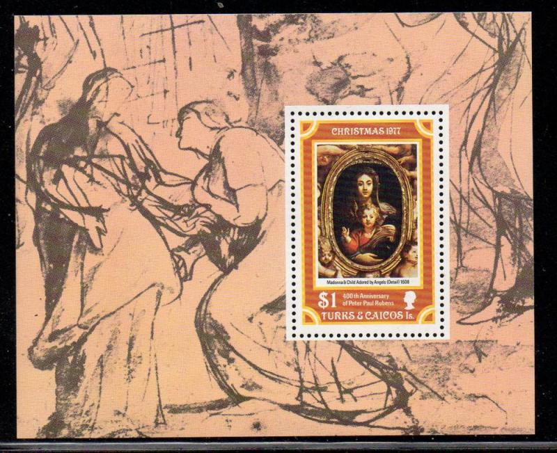 Turks & Caicos Sc 337 1977 Christmas stamp sheet mint NH