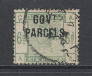 Great Britain Sc O28 used 1886 6p QV, counterfeit GOV'T PARCELS overprint