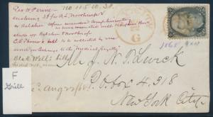 #93 F GRILL W/ TARGET CANCEL & NYC AUG. 1868 ON COVER FRONT, EX-FOSDYKE BP1111