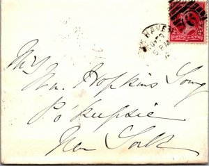 1882 cover New Haven CT > Poughkeepsie NY US 2¢ red stamp