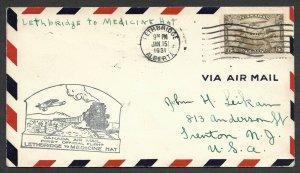 Doyle's_Stamps: Canadian Postal History: Lethbridge to Medicine Hat Flight Cover