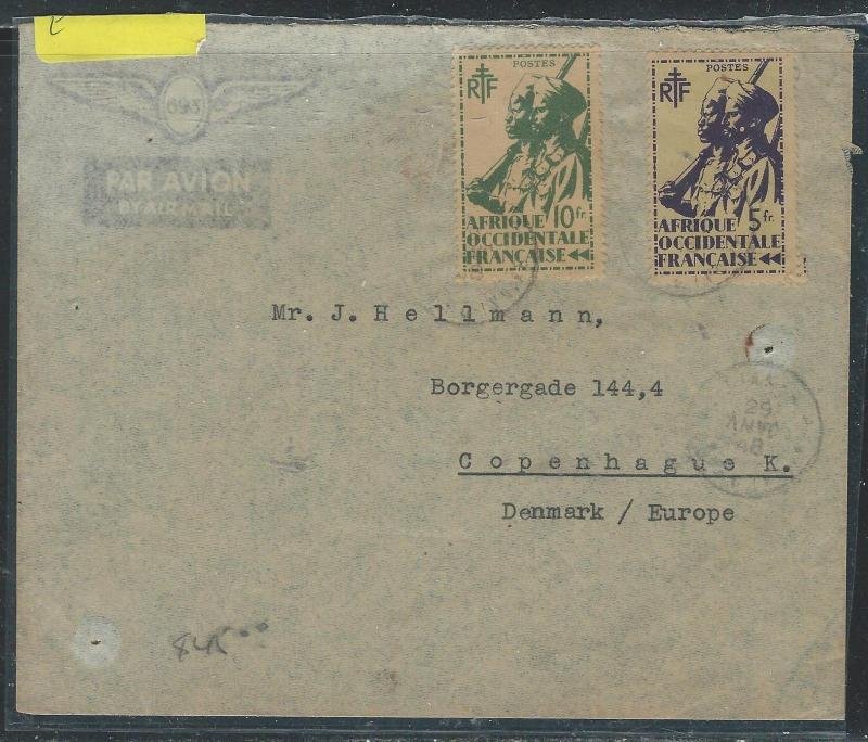 FRENCH WEST AFRICA (P2608B) 5C+10C SOLDIER COVER TO DENMARK
