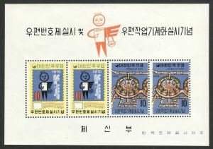 1970 Korea Introduction to Postal Codes S/S souvenir sheet MNH Sc# 713a