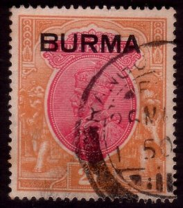 BURMA GV 2R opt on in India SG14 fine used.................................45396