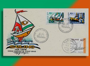 Iceland Celebrates the 1998 NORDEN Theme of Sailing!  Handcolored Combo FDC!