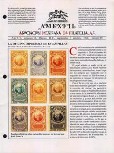 G)1996 MEXICO, AMEXFIL MAGAZINE, SPECIALIZED IN MEXICAN STAM