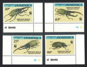 Dominica WWF Hercules Beetle 4v Corners with Margins T1 SG#1799-1802
