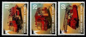 HERRICKSTAMP CYPRUS (BR) Sc.# 1059-61 Fire Trucks Specimen Overprint