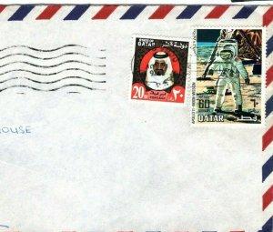 Gulf QATAR Cover SPACE APOLLO 69 LATE USE Air Mail Devon Gift Co. 1976 FC226