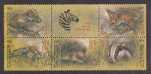 Russia # B156a, Zoo Animals, NH, Block of Five + Label, 1/2 Cat.