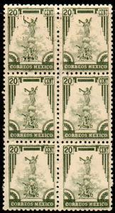 MEXICO 796, 20c 1934 Definitive Issue Blk of Six MNH (177)